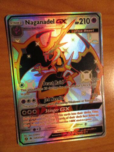 NM FULL ART Pokemon Shiny NAGANADEL GX Card HIDDEN FATES Set SV63//SV94 SM Rare