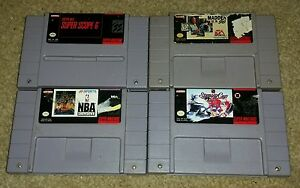 Super-Nintendo-Lot-Of-4-SNES-games-hockey-football-NFL-madden-NHL-Stanley-Cup