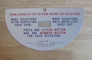 Original Seeburg LPC 480 Jukebox Plastic Instruction Plate