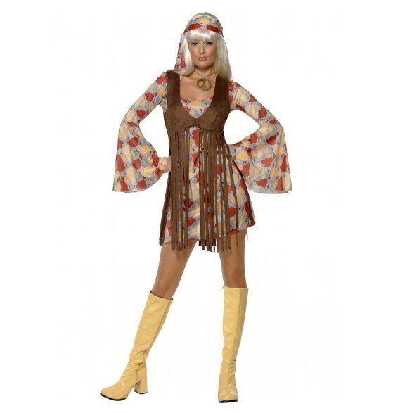 1960'S GROOVY BABY HIPPIE COSTUME - WOMENS MEDIUM SIZE - MELBOURNE LOCATION