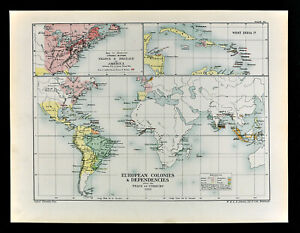 Details about 1902 Oxford History World Map European Colonies 1713 America  West Indies India