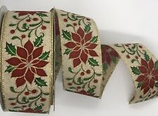 """Holly Berry Poinsettia WIRE EDGED RIBBON 2-1//2/"""" x 5 Yards"""