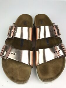 Details about Birkenstock Arizona Soft Footbed Leather Metallic Rose Gold Women's SZ 40 10
