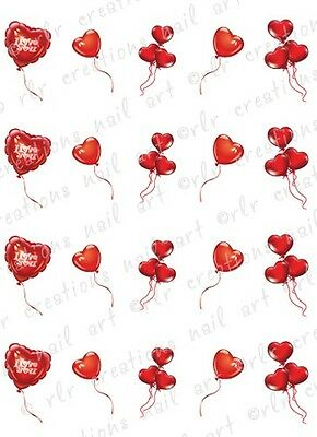 20 Nail Decals VALENTINE HEART BALLOONS Water Slide Nail Art Decals Nail Art