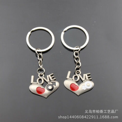 Love Hearts Couple Keyrings Lovers Puzzle Keyring Set Silver Metal Key Chains