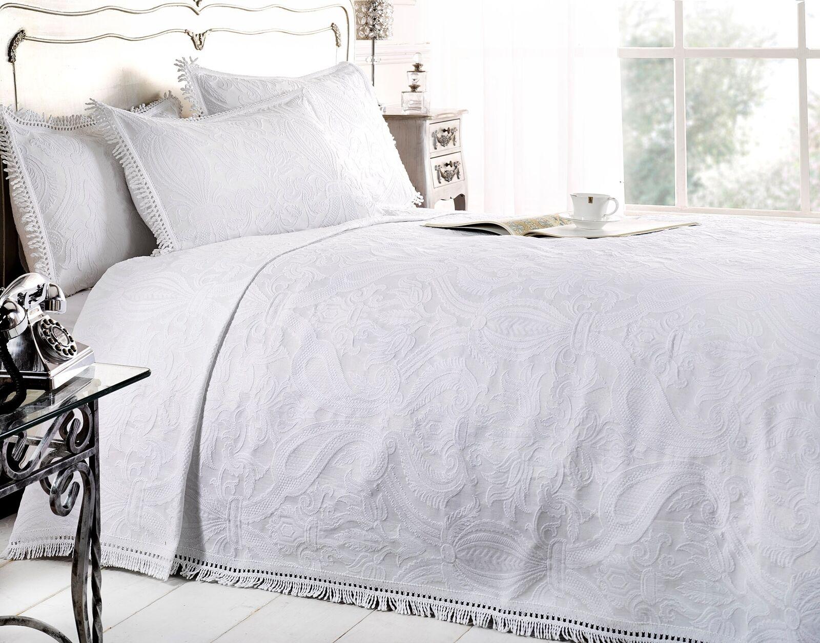 New Mafalda Weiß Bedspread Portuguese Style Sofa Bed Throw Mix Cotton