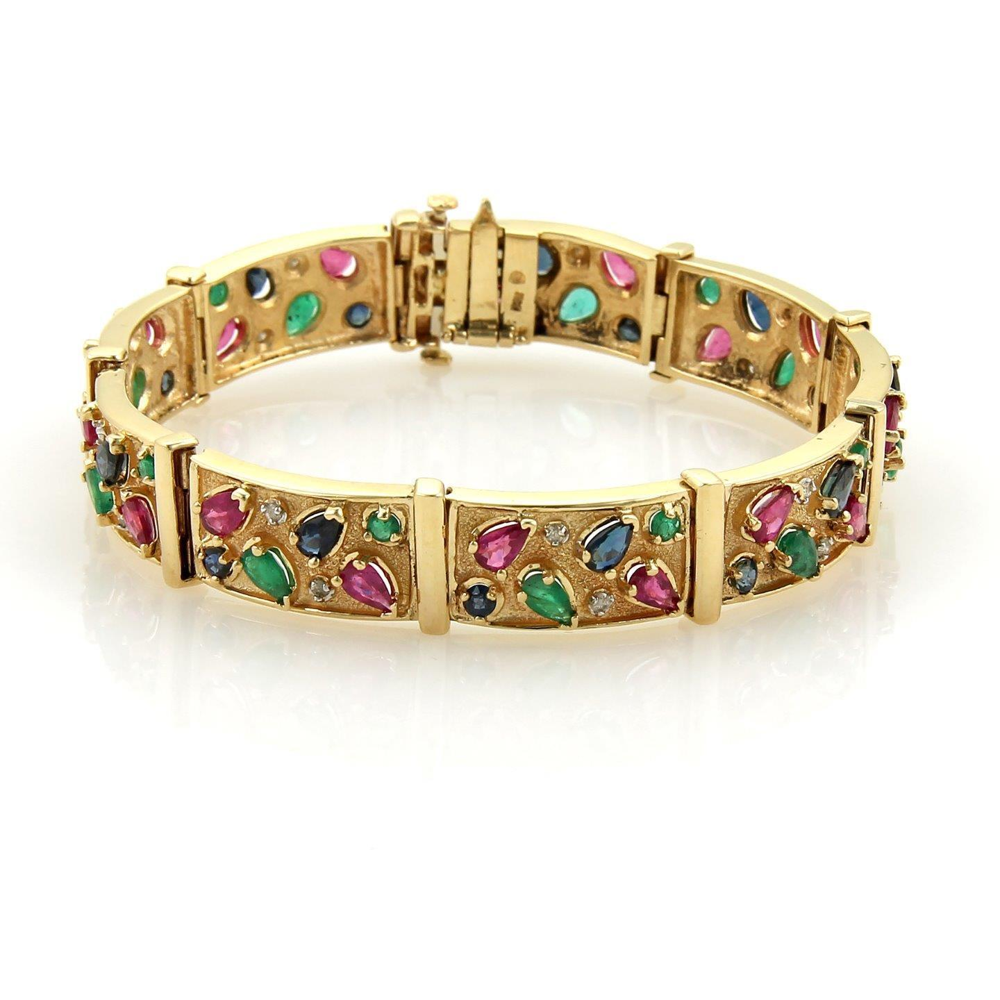 10.35ct Multi-color Gems & Diamonds 14k Yellow gold Bar Link Bracelet