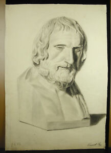 Eugene-Cornetta-Disegno-XIX-Originale-Busto-Filosofo-Greco-per-L-039-Antico-62-CM