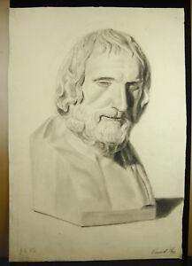 Eugene-Cornet-Drawing-Xixth-Original-Bust-Philosopher-Greek-in-the-Ancient-62-CM