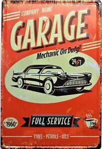 Placa-Metal-Vintage-Garage-Mechanic-en-Duty-30-X-20cm-Relieve