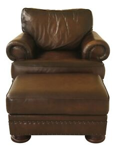 Swell Details About 30782Ec Bernhardt Oversized Leather Club Chair Ottoman Ncnpc Chair Design For Home Ncnpcorg