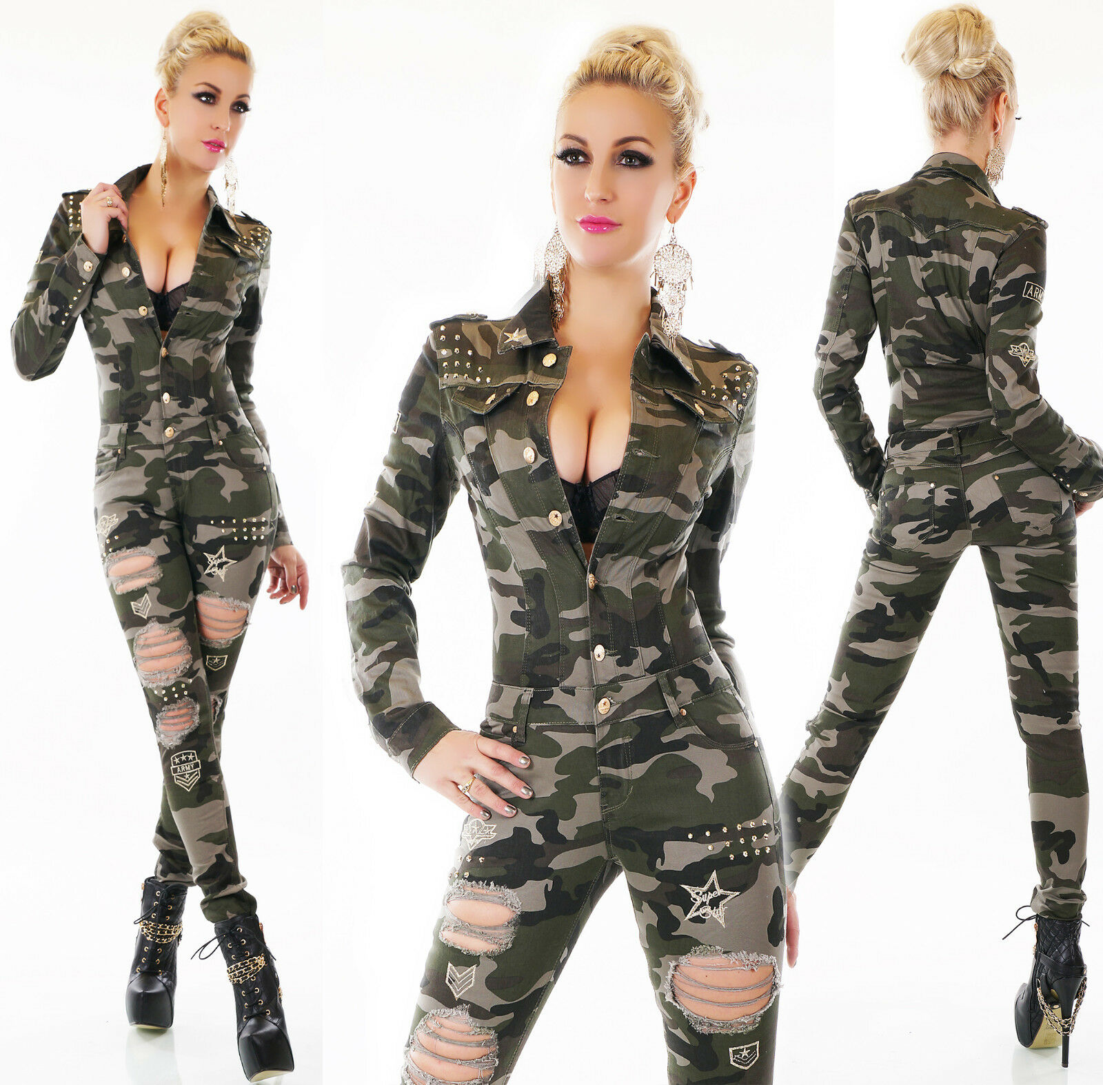 Camouflage Combinaison Militaire globale des larmes, broderie or, rivets stretch NEUF
