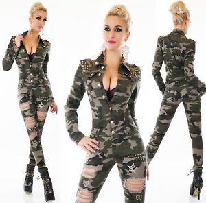 Tuta-camouflage-militare-overall-strappi-ricami-oro-borchie-elasticizzata-nuova