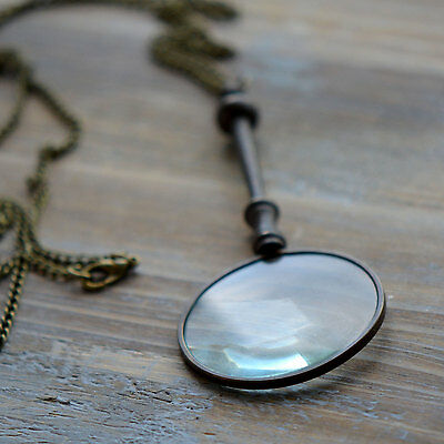 Vintage Style Magnifying Glass Pendant & Pocket Chain, Antique Bronze Finish