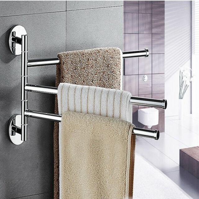 Bathroom Stainless Steel Towel Rail Rack Holder 2-4 Swivel Bar Wall Hanger Shelf