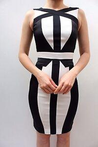 Karen-Millen-Black-Colour-Block-Monochrome-Cocktail-Pencil-Party-Dress-8-36-New