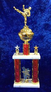 HUGE-tall-Martial-Arts-Award-Trophy-Kick-Boxing-Tier-Column-FREE-engraving