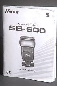 nikon sb 600 speedlight instruction book manual user guide ebay rh ebay com nikon sb 600 user manual pdf SB- 700