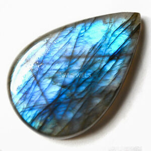 Cts-31-60-Natural-Blue-Fire-Labradorite-Cabochon-Pear-Cab-Loose-Gemstones