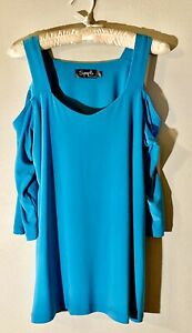 NEW-Sympli-3-4-Sleeve-Etched-Top-Cold-Shoulder-Turquoise-Teal-Size-10