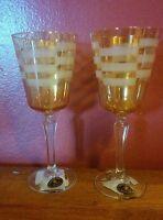 Set Of 2 Amber Cristalleria Fumo Glasses