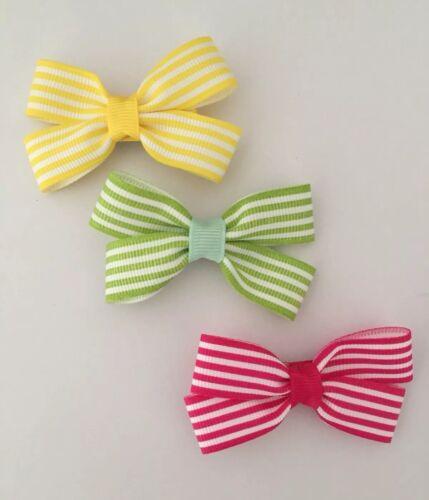 3 Packs de jaune vert et rayures roses Hair Bow Clips//Filles Accessoires