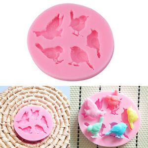 3D-Silikonform-Voegel-Mold-Fondant-Marzipan-Keks-Kuchen-Ausstecher-Backform-Rosa