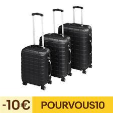 Set de 3 valises de voyage coque ABS léger rigide bagages valise trolley noir