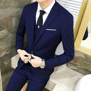 Mens One Button Slim Fit Coat Pant Wedding Suits 2pcs Groom Formal
