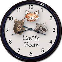 Wilderness Animals Bear Fox Racoon Custom Personalized Wall Clock 10