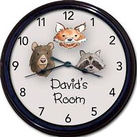 Wilderness Animals Bear Fox Racoon Custom Personalized Wall Clock 10