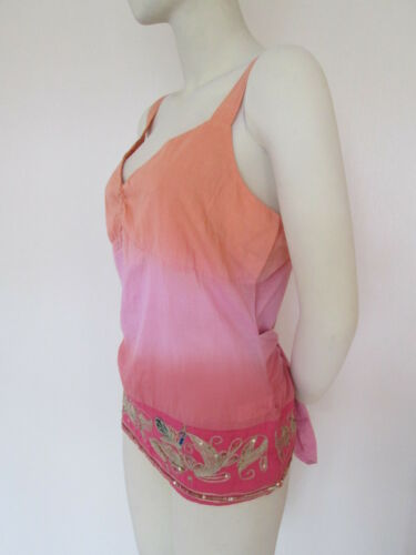 Bnwt Per 14 With Cotton 100 Top amp; rose Sequins Marks Size Spencers Una Orange 6nAqOOxFZ
