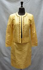 A5 Auth OSCAR DE LA RENTA Yellow Silk Jeweled Trim Blazer Skirt 2 Pc Suit Sz 6 P