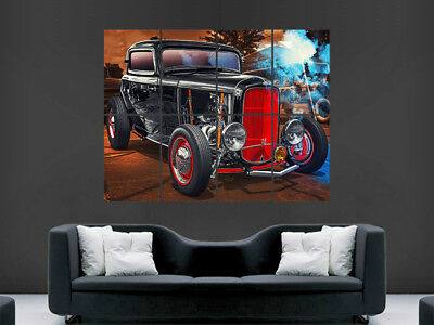 BLACK RED FORD HOT ROD CAR POSTER CLASSIC USA HUGE LARGE WALL ART