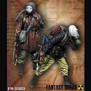 1-35-Resin-Figure-Model-Kit-Soldiers-Stalker-Metro-Chernobyl-2-Figures-Unpainted