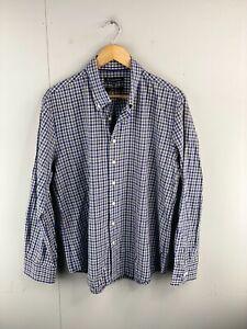 Trent Nathan Men's Long Sleeve Button Up Shirt Size 2XL Blue Green Check