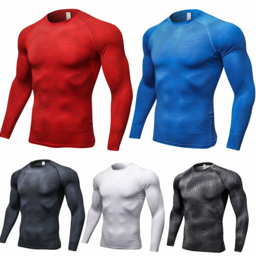 Herren Kompressionsshirt Langarm T-Shirt Ftiness Gym Sports Stretch Shirts Tops