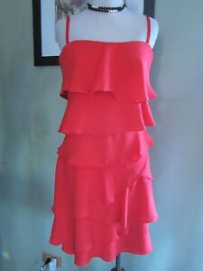 66a222b4ee59b Image is loading BCBG-RED-ORANGE-GINGER-STRAPLESS-RUFFLE-TIERED-DRESS-