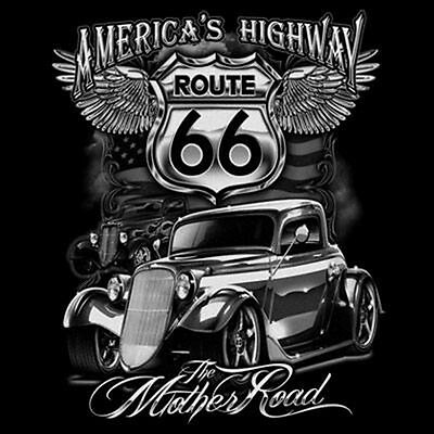 America/'s Highway Mother Road Long Sleeve Shirt Route 66 Hot Rat Rod M-3XL