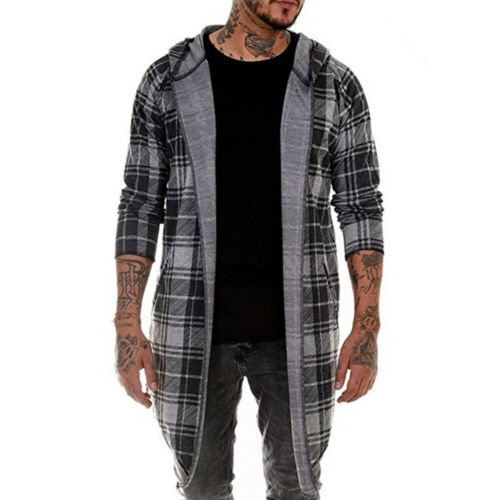 Men Slim Fit Hoodie Hooded Tops Plaid Coat Jacket Casual Outwear Overcoat UK
