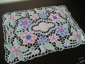 Embroidery-Cut-Work-Floral-Doily-Placemat-Centrepiece-S