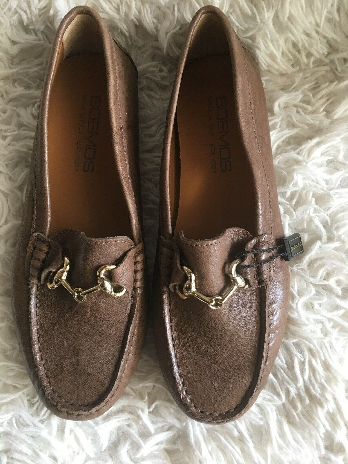Boemos leather Loafers Driving Moccasins BROWN Made in  SZ 37
