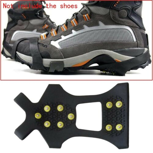 10-Stud Anti Slip Ice Cleats Crampons Snow Climbing Shoe Spike Grips Shoes Cover