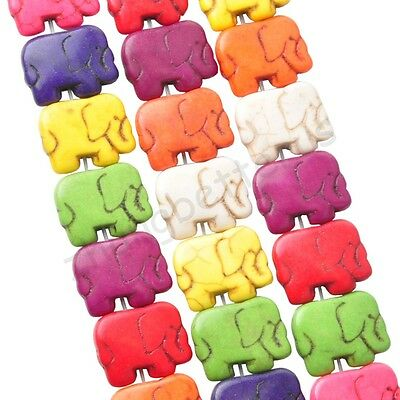 24 Pcs Multi-ColorsTurquoise Elephant Charms Faceted Loose Spacer Beads 13*22 mm