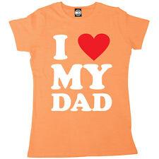 22896660e I LOVE MY DAD WOMENS I HEART T-SHIRT FATHERS DAY GIFT XMAS BIRTHDAY PRESENT