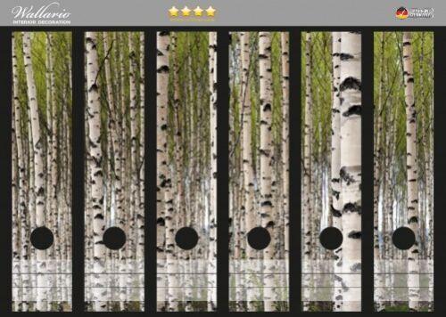 Wallario Ordnerrücken selbstklebend für 6 breite Ordner Birkenwald Baum Birke