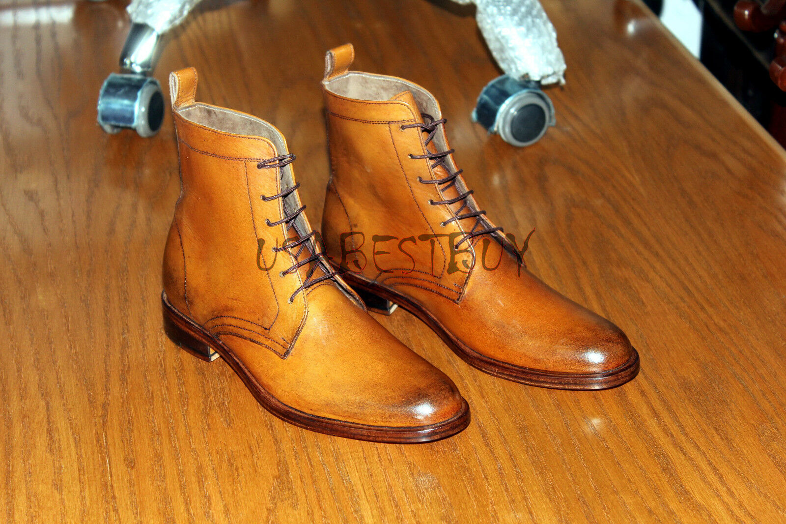 New Handmade Mens Hand Antiqued Brown Leather Boots, Lace up boots