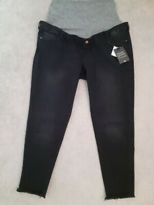 Mothercare-Maternity-Black-Jeans-Skinny-Size-20S-L30-Under-Or-Over-Bump-Ripped