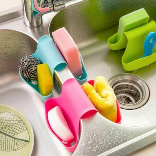 Polished Stainless Steel Double Organizer Caddy for Sink Accessories InterDesign Forma Dual Kitchen Sink Sponge and Scrubber Holder