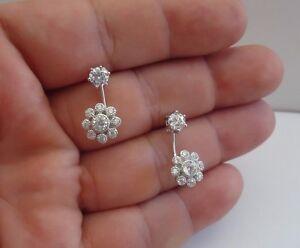 925-STERLING-SILVER-DANGLING-CLUSTER-POST-STUD-EARRINGS-W-2-50-CT-LAB-DIAMONDS